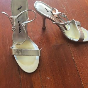 Silver with faux diamond detail heels